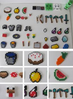 Make these to put into a diy advent calendar. You Minecraft Enthusiast's Inventory Chest will be full by Christmas. Minecraft Diy, Hama Beads Minecraft, Diy Perler Beads, Minecraft Designs, Perler Bead Art, Minecraft Bedroom, Minecraft Furniture, Minecraft Skins, Perler Bead Designs