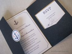 Nautical themed pocket invite - nice layout