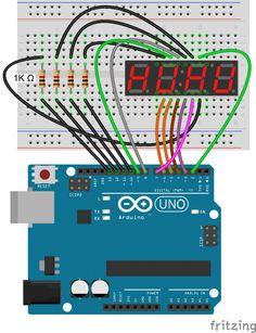Arduino 7-Segment Display - 4 Digit Display Connection Diagram