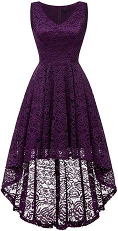 Bridesmay Women's Elegant V-Neck Vintage High Low Sleeveless Floral Lace Cocktail Party Swing Dress Grape S Cute Prom Dresses, Grad Dresses, Dressy Dresses, Elegant Dresses, Homecoming Dresses, Beautiful Dresses, Short Dresses, Mode Outfits, Dress Outfits