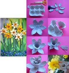 tuto jonquille boites oeufs Diy And Crafts, Crafts For Kids, Egg Carton Crafts, Samhain, Flower Crafts, Decoupage, Upcycle, Recycling, Creations