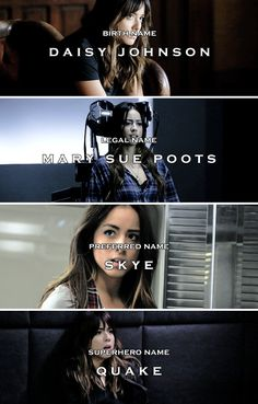 Chloe Bennet #Skye <---- I heard in the next season she's going to go by Daisy!!