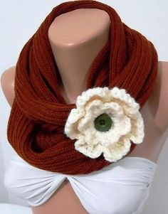 LOTUS  Hand knitted scarf...Brown.... Infinity Scarf by womann, $22.90