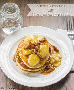 Vanilla Pancakes with Caramelized Bananas   http://www.ihearteating.com   #pancake #recipe #greekyogurt