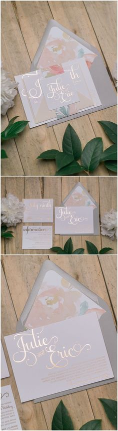 Rose Gold Foil and Floral Pattern Wedding Invitations