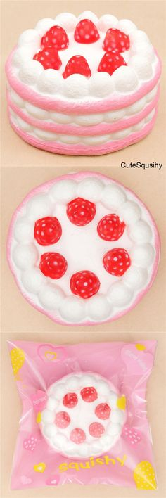 Kawaii white and pink layered round strawberry cake squishy with whipped cream and strawberries! Cake Squishy, Balle Anti Stress, Cute Squishies, Slime Shops, Kawaii Plush, Popular Toys, Kawaii Shop, Fidget Toys, Cute Toys