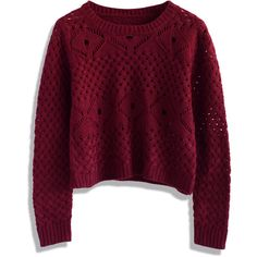 Chicwish Open Knit Cropped Sweater in Wine ($42) ❤ liked on Polyvore featuring tops, sweaters, shirts, jumpers, red, cable-knit sweater, crew neck shirt, cable knit sweater, crew shirt and red sweater