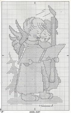 MODIFIED.  *Angel Duet* Hummel cross stitch, pattern 1