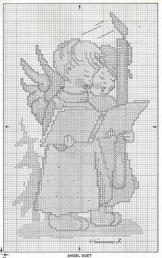 MODIFIED.  *Angel Duet* Hummel cross stitch, pattern 1