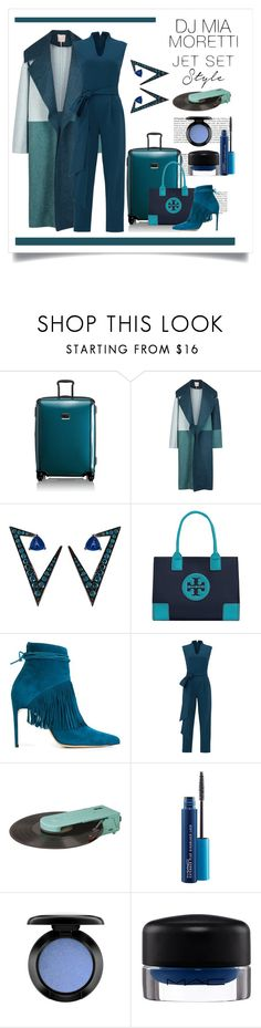 """DJ Mia Moretti ... Jet Set Style"" by conch-lady ❤ liked on Polyvore featuring Tumi, Roksanda, Nikos Koulis, Tory Burch, Bionda Castana, TIBI, Dot & Bo and MAC Cosmetics"