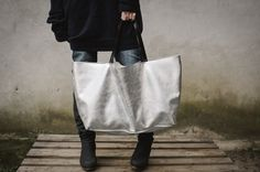 Silver Oversized Tote Bag ,every day silver bag