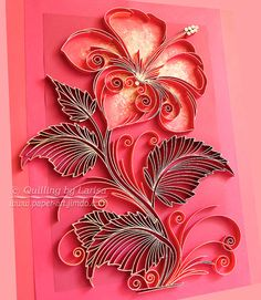 Original Paper Quilling Wall Art - The Scarlet Flower. Handmade. Decor. Design.