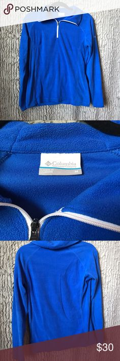 Columbia Glacial Fleece Half Zip Size M. Beautiful Royal Blue color. Polyester Fleece. Fits true to size in my option. Bought this from a local Columbia store for full price January 2016 and have worn it a handful of times and washed it a few times as well. In perfect condition. No holes or stains. Zipper is fully functional. No pockets. Has a zigzag print on it but hardly noticeable!! Comment below for any questions! 😊 Columbia Jackets & Coats