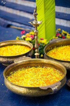 south indian wedding decor, brass bowls, floral petals decor, traditional decor