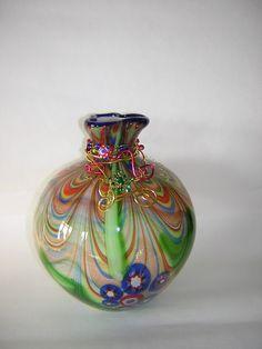 beautiful vase with multi color swirls