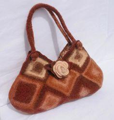 Felted Wool Purse Cream Shades of Brown  Fiber Art by LJDBags, $115.00