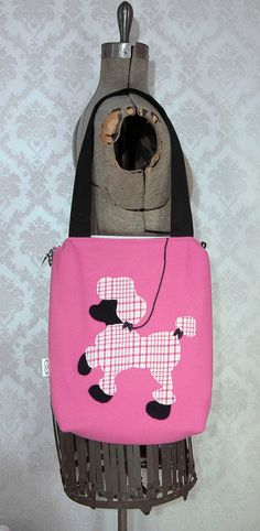 Pink Poodle Bag Retro Pink Plaid Poodle Tote Bag Handmade Pink Poodle Purse by the lovely Weezi on Etsy.
