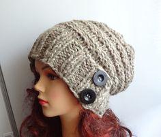 Hand Knit  Hat beret women knit hat slouch women Slouchy by Ifonka