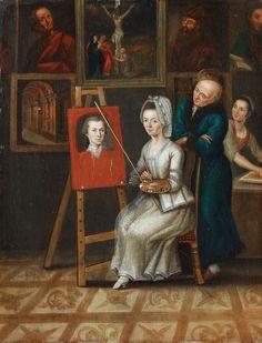 Josef Dorn -- SELF PORTRAIT OF THE ARTIST WITH HIS WIFE IN HIS STUDIO