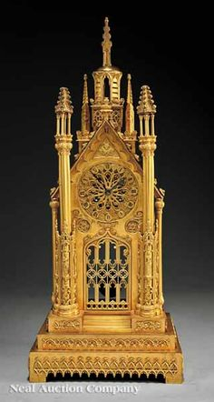 English Gilt Bronze Mantel Clock in the Gothic Taste, 19th c., by A. B. Savory & Sons, Cornhill, London,
