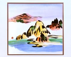 Abstract Landscape Original Chinese painting Satin Fabric