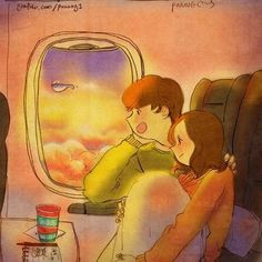This is beautiful.except I get the window seat. Puuung – Love is: So sieht Liebe aus - Art - bento What Is Love, Love Is Sweet, Cute Love, Illustration Photo, Couple Illustration, Anime Couples, Cute Couples, Puuung Love Is, Love Cartoon Couple