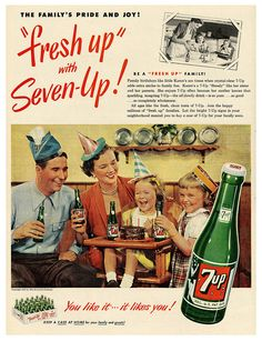 The array of birthday hats in this early 50s 7-Up ad is wonderful (dad's in particular stands out).