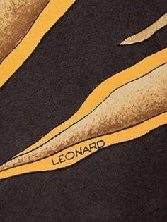 Vintage Trendy Skinny LEONARD PARIS Iconic Mod Flora Fauna Design Silk Neck Tie #LeonardParis #Tie