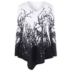 Branch Print Asymmetrical T-Shirt - WHITE/BLACK M