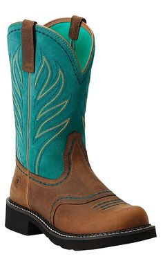 Ariat Probaby Flame Women's Distressed Brown and Turquoise Top Round Toe Cowboy Boot