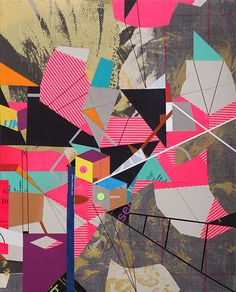 Born in 1980 in Santa Rosa, California, Clark Goolsby creates cacophonic compositions of eye-catching neon colors, geometric shapes and collage. Collage Illustration, Collage Art, Paper Collages, Tattoo Graphique, Design Textile, Ecole Art, Photocollage, Colorful Paintings, Grafik Design