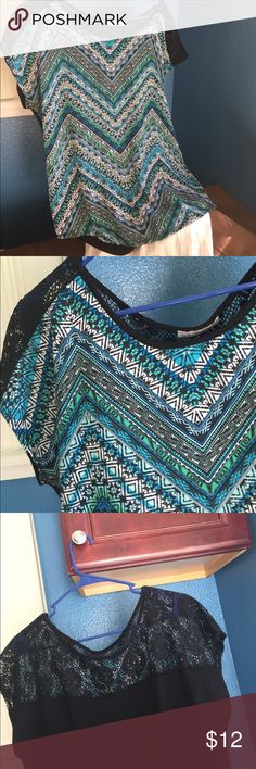 LAST CHANCE - DELETING SUNDAY Classy Top Print front, cap sleeves, lace upper back. Like new condition. Tops