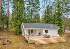 Right now I'm showing you a 613 sq. ft. small house in the woods of Sweden. It has two bedrooms and one bathroom all on one single level so there are no lofts. This little house was originally buil...