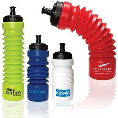 """Polyethylene water bottle with polypropylene lid and rubber spout. Holds up to 28 oz. when fully expanded or 16 oz. when collapsed. Screw-on lid with drink through push/pull spout. Please note: Always have lid off or spout open when expanding or collapsing bottle. Packaging: Polybag.Product Dimensions: 7-1/4""""H collapsed; 3"""" bottom diameter. 12-1/2""""H expanded.Imprint Area: 3-1/2""""H x 1""""W wrapPrice includes one color, one location Silk Scree..."""