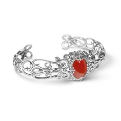 Carolyn Pollack Jewelry | Indian Summer Sterling Filigree Orange Carnelian Cuff Bracelet