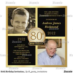 80th Birthday Invitations Then Now 2 Photos 75th Parties 85th