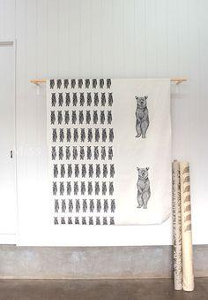 Japanese Fabric Bear panel by MissMatatabi on Etsy