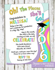 Oh The Places You'll Go  graduation invitation by Meghilys on Etsy