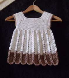 Ravelry: Chains and Shells Crochet Pinafore pattern by Thomasina Cummings Designs Vestidos Bebe Crochet, Crochet Bebe, Crochet Girls, Crochet Baby Clothes, Crochet For Kids, Knit Crochet, Crochet Dresses, Crochet Stitches Patterns, Crochet Designs