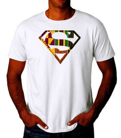 Afro Superman Men's Tee shirt with Kente hand crafted applique