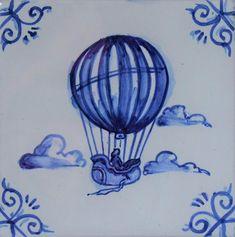 Original handpainted Delft Tile /Balloon / MAS Designs