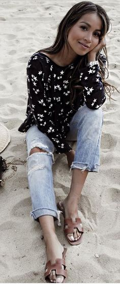 #spring #summer #street #style #outfitideas | Star Top + Denim | Sincerely Jules