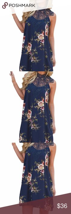 Navy Crochet Lace Neck Floral Dress Classy, fabulous, and warm weather ready! Sleeveless floral print dress with deliberate crochet yoke and open slit on back with button closure.  The flowing silhouette is flattering to the body. Pick the event and go with confidence.  220046-5 Dresses Midi
