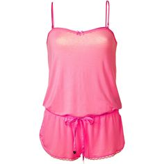 JUICY COUTURE Light Helium Pink Romper With Lace Trim ($60) ❤ liked on Polyvore