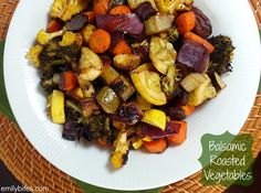 These Balsamic Roasted Vegetables make a healthy and flavorful side dish - the best way to prepare vegetables! Only 89 calories or 2 Weight Watchers points per serving. www.emilybites.com #healthy