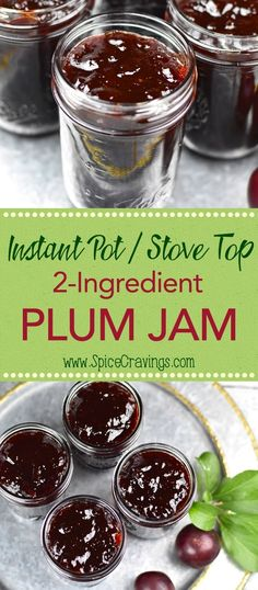 Plum Jam recipe is like capturing the fresh flavors of summer in a jar! Whether you make it in your Instant Pot or stove, fresh plums and sugar is all you need to make this pot of deliciousness. No pectin required! Plum Jelly Recipes, Fruit Recipes, Cherry Plum Recipes, Plum Recipes Healthy, Recipies, Drink Recipes, Instant Pot, Plum Butter, Recipes