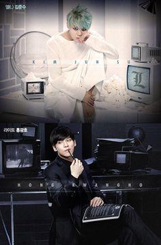 Kim Junsu (Xia) as L, and Hong Kwang Ho as Light, in the Korean musical adaptation of Death Note