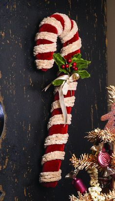Large Chenille Candy Cane. Primitive and Country Christmas Decorations at TheHolidayBarn.com
