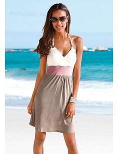 Koop BEACH TIME - Strandjurk, Beachtime taupe/creme in de Heine online-shop