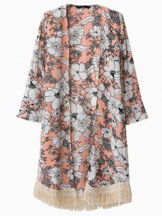 Floral Loose Tassel Kimono - Choies.com